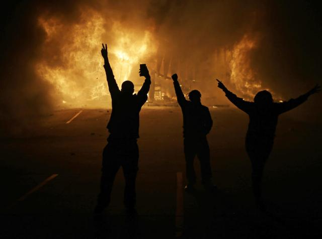 Race rioters in Fergsuon