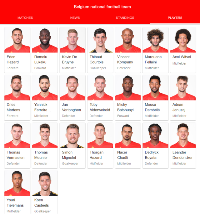 belgium national football team full 23 2018 google