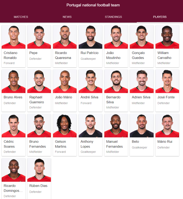 portgual national football team full 23 2018 google